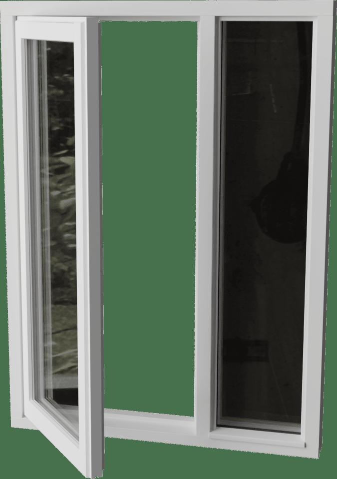 Buitendraaiend raam met zijlicht rechts