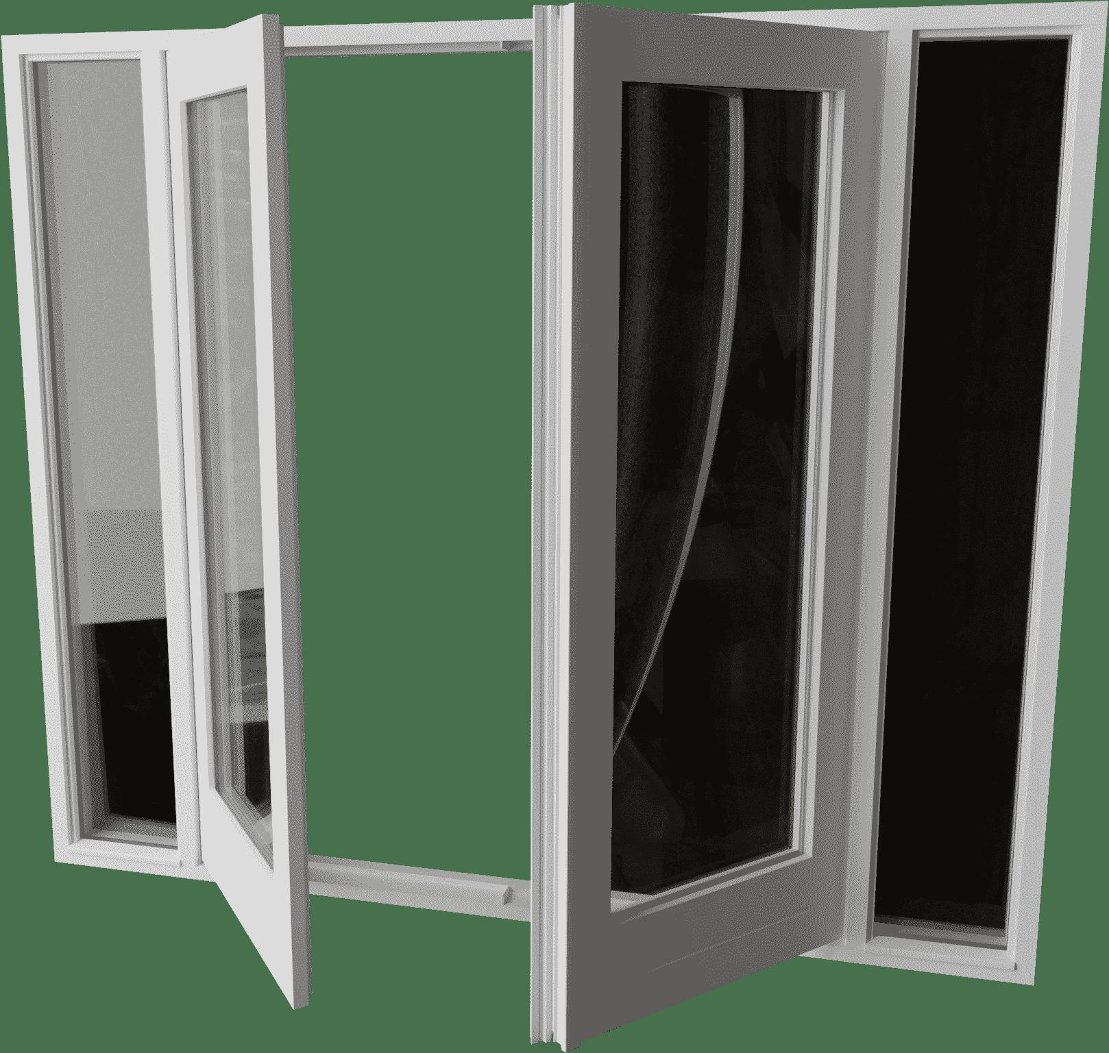 Buitendraaiende stolpdeur met zijlichten